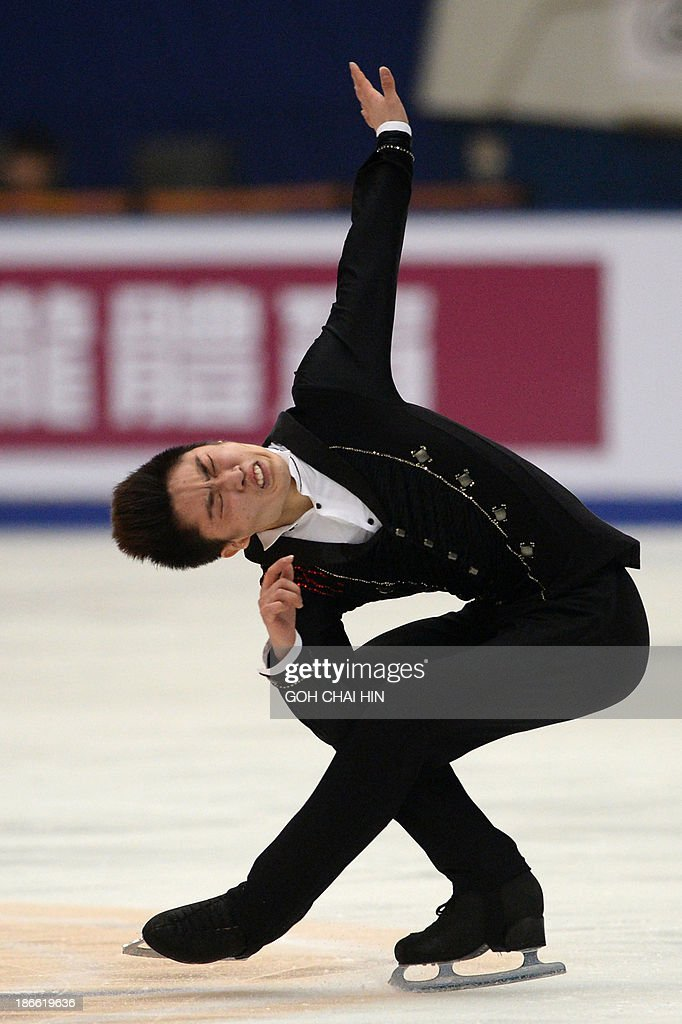 Yan Han of China performs during the men's free skating event of the Cup of China ISU Grand Prix of Figure Skating in Beijing on November 2, 2013. Yan won first place with a total score of 245.62.