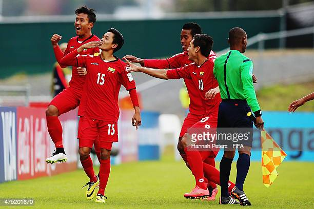 Yan Naing Oo of Myanmar celebrates after scoring a goal during the FIFA U20 World Cup Group A match between USA and Myanmar at the Northland Events...