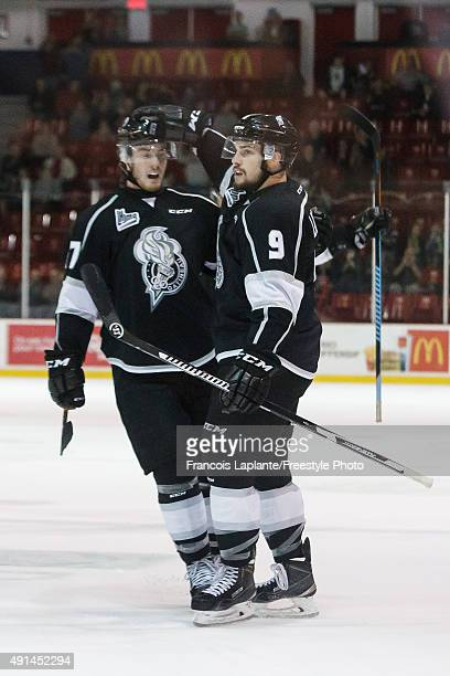 Yan Pavel Laplante of the Gatineau Olympiques celebrates his goal with Joey Richard against the Sherbrooke Phoenix on September 27 2015 at Robert...