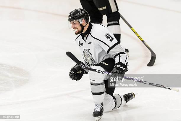 Yan Pavel Laplante of the Gatineau Olympiques celebrates his goal during the QMJHL game against the BlainvilleBoisbriand Armada at the Centre...