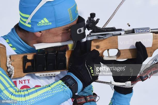 Yan Savitskiy of Kazakhstan during practice before the men's biathlon 12.5 km pursuit on day seven of the 2017 Sapporo Asian Winter Games at Nishioka...