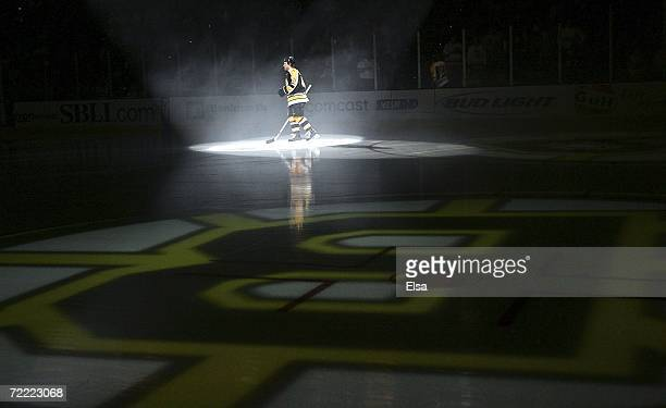 Yan Stastny of the Boston Bruins skates out as his name is called during the opening ceremony before the game against the Calgary Flames on October...