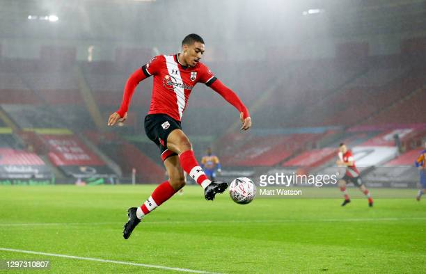 Yan Valery of during the FA Cup Third Round match between Southampton and Shrewsbury Town on January 19, 2021 in Southampton, England. Sporting...