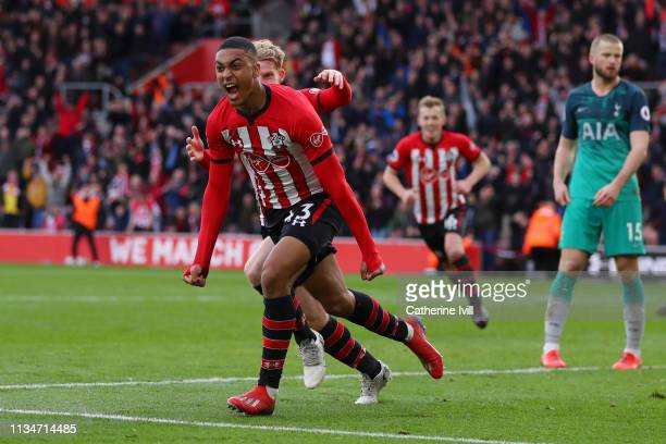 Yan Valery of Southampton celebrates after scoring his team's first goal during the Premier League match between Southampton FC and Tottenham Hotspur...