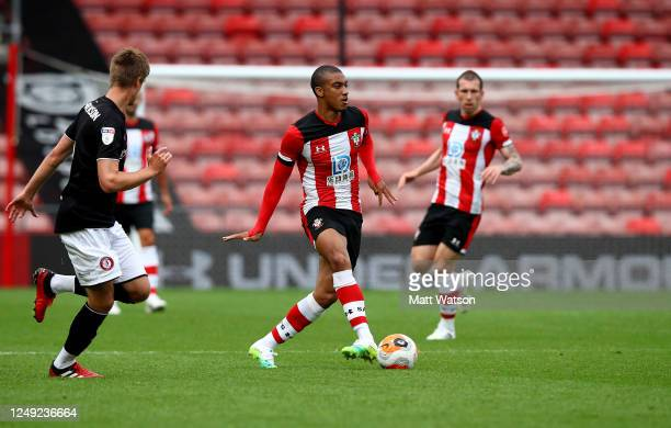 Yan Valery of Southampton during a friendly match between Southampton FC and Bristol City ahead of the Premier League restart at St Mary's Stadium on...
