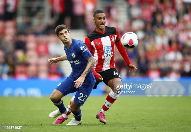 Yan Valery of Southampton is challenged by Christian Pulisic of Chelsea during the Premier League match between Southampton FC and Chelsea FC at St...
