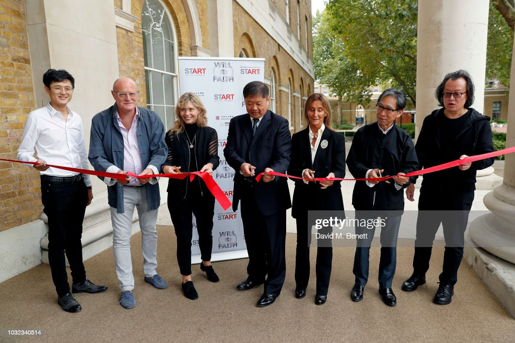 Yan Wang, David Ciclitira, Philly Adams, Xiang Xiaowei, Serenely Ciclitira, Johnson Chang and Professor Yao Djuin attend a VIP private view of the START Art Fair at the Saatchi Gallery on September 12, 2018 in London, England.