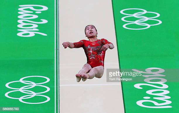 Yan Wang of China competes on the vault during Women's qualification for Artistic Gymnastics on Day 2 of the Rio 2016 Olympic Games at the Rio...