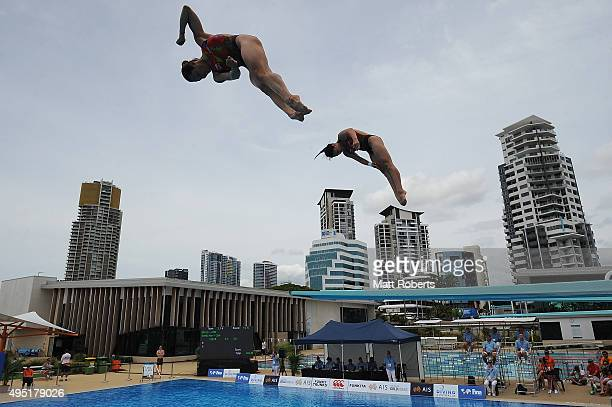 Yan Yee Ng and Nurdabitah Sabri of Malaysia compete in the Women's 3m Springboard Final during the FINA Diving Grand Prix on November 1 2015 on the...