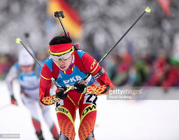 Yan Zhang of China in action during the Women 4 x 5 km relay Biathlon race at the IBU Biathlon World Cup Ruhpolding on January 17 2016 in Ruhpolding...