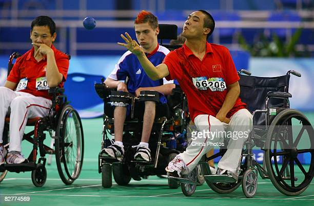 Yan Zhiqiang of China competes in the Mixed Team BC12 Semifinal 1 Boccia match between China and Great Britain at the Fencing Hall during day five of...