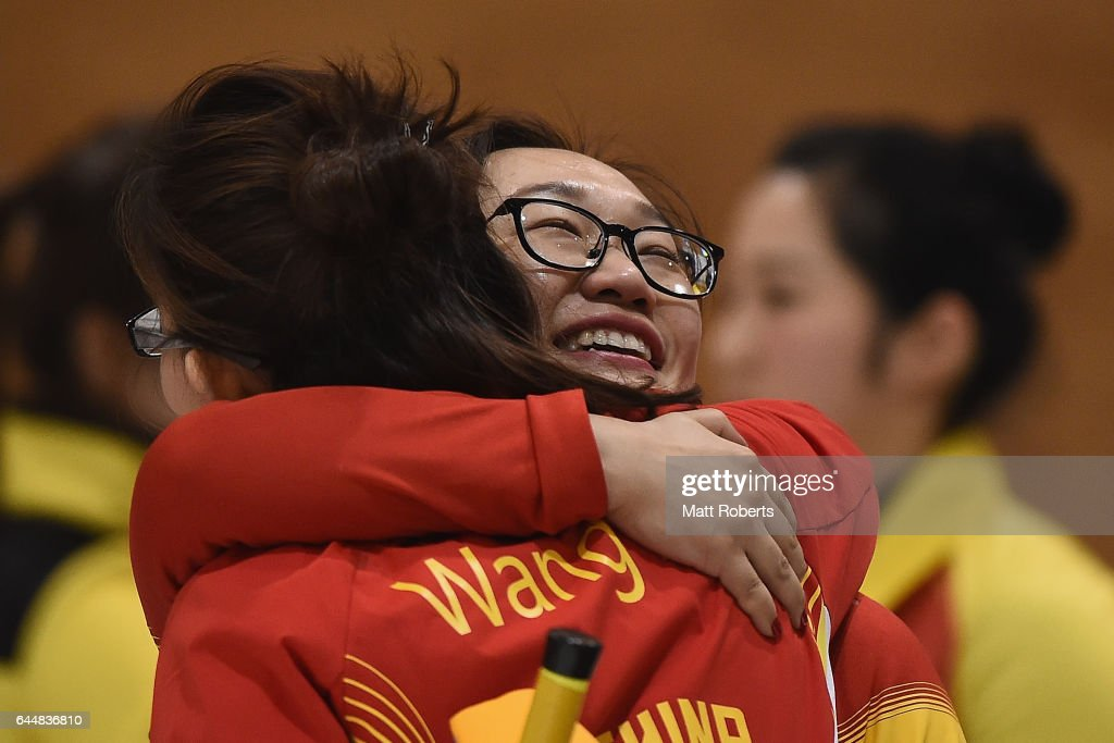 Yan Zhou of China celebrates victory during the gold medal game between China and Korea on day seven of the 2017 Sapporo Asian Winter Games at Sapporo Curling Stadium on February 24, 2017 in Sapporo, Japan.