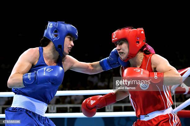 Yana Alekseevna of Azerbaijan and Katie Taylor of Ireland compete in the Women's Light semi final during day fourteen of the Baku 2015 European Games...