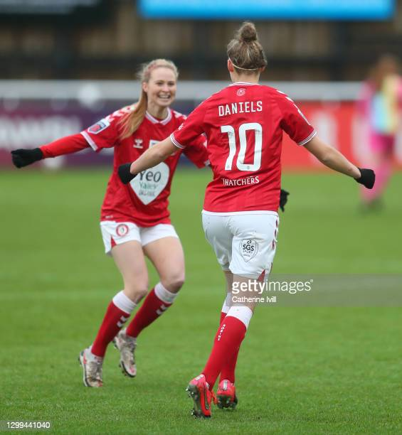 Yana Daniels of Bristol City celebrates after scoring her team's first goal during the Barclays FA Women's Super League match between Bristol City...