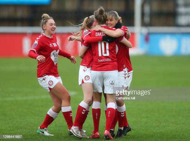Yana Daniels of Bristol City celebrates with teammates after scoring her team's first goal during the Barclays FA Women's Super League match between...