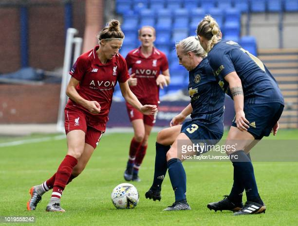 Yana Daniels of Liverpool FC Women and Alex Greenwood of Manchester United Women in action during the Liverpool FC Women v Manchester United Women...