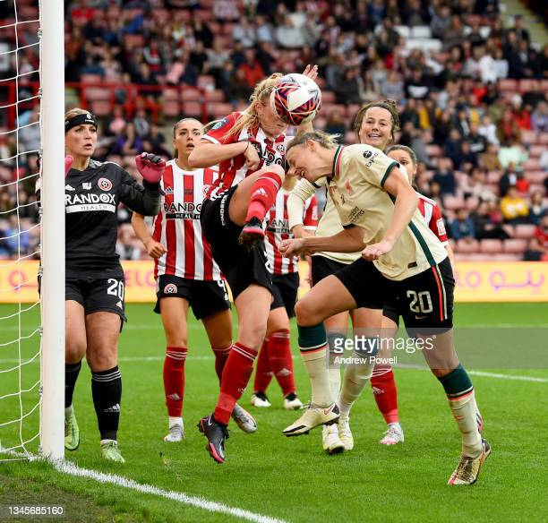 Yana Daniels of Liverpool Women competing with Sophie Bradley-Auckland captain of Sheffield United Women during the Barclays FA Women's Championship...