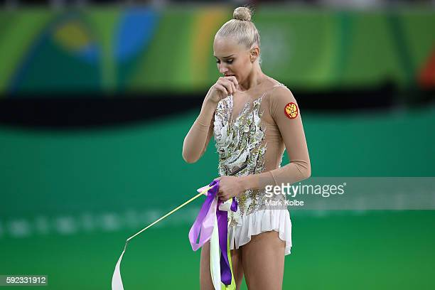 Yana Kudryavtseva of Russia competes during the Women's Individual All-Around Rhythmic Gymnastics Final on Day 15 of the Rio 2016 Olympic Games at...