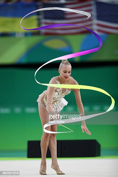 Yana Kudryavtseva of Russia competes during the Women's Individual AllAround Rhythmic Gymnastics Final on Day 15 of the Rio 2016 Olympic Games at the...