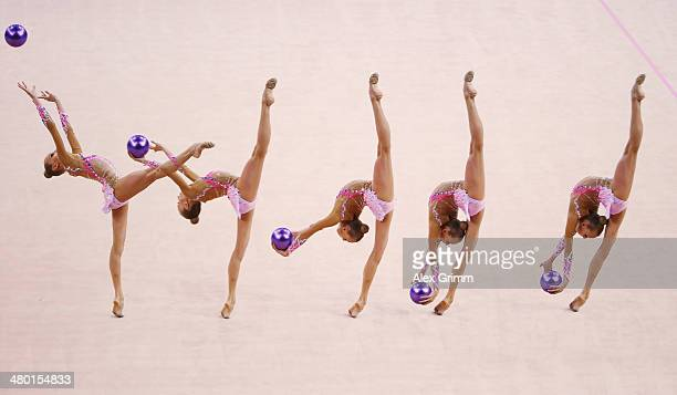 Yana Kudryavtseva of Russia performs during the individual ball final of the GAZPROM World Cup Rhythmic Gymnastics 2014 at the Porsche Arena on March...