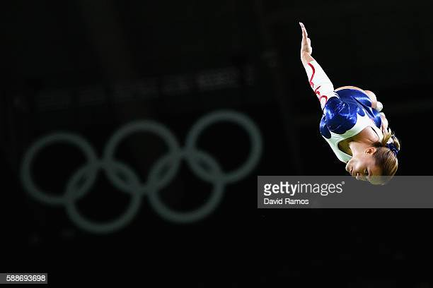 Yana Pavlova of Russia competes during the Trampoline Gymnastics Women's Qualification on Day 7 of the Rio 2016 Olympic Games at the Rio Olympic...