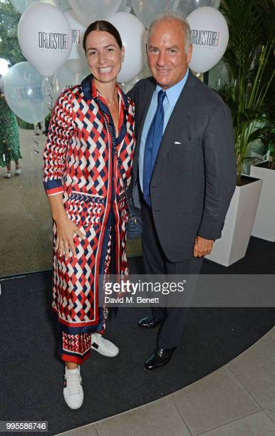 Yana Peel and Charles Finch attend the launch party for the inaugural Issue of Drugstore Culture at Chucs Serpentine on July 10 2018 in London England