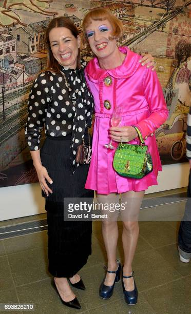 Yana Peel and Grayson Perry attend Mulberry's Special Private View of Grayson Perry's 'The Most Popular Art Exhibition Ever' at The Serpentine...