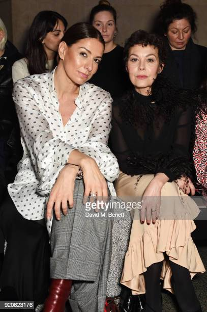 Yana Peel and Helen McCrory attend the Christopher Kane show during London Fashion Week February 2018 at Tate Britian on February 19 2018 in London...