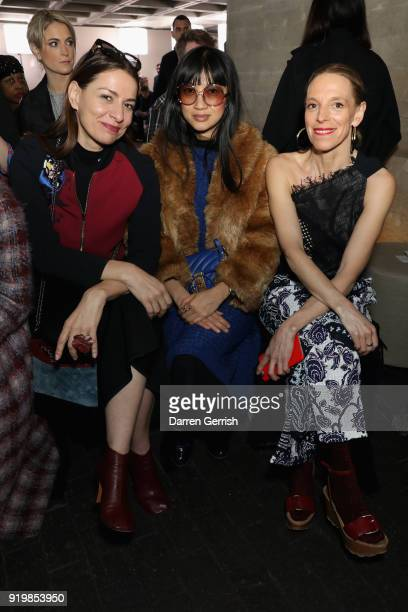 Yana Peel Mimi Xu and Tiphaine de Lussy attend the Roland Mouret show during London Fashion Week February 2018 at The National Theatre on February 18...