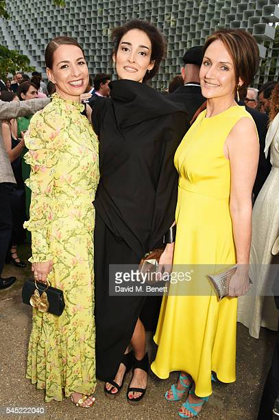 Yana Peel Yasmin Ghandehari and Saffron Aldridge attend The Serpentine Summer Party cohosted by Tommy Hilfiger on July 6 2016 in London England
