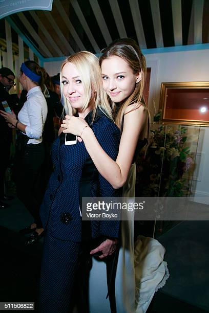 Yana Rudkovskaya Alesya Kafelnikova attends 'The London Fabulous Fund Fair' at Old Billingsgate Market on February 20 2016 in London England