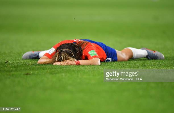 Yanara Aedo of Chile looks dejected after the 2019 FIFA Women's World Cup France group F match between Thailand and Chile at Roazhon Park on June 20...