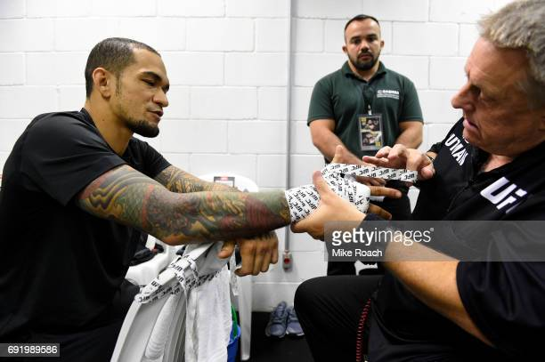 Yancy Medeiros has his hands wrapped prior to his bout against Erick Silva during the UFC 212 event at Jeunesse Arena on June 3 2017 in Rio de...