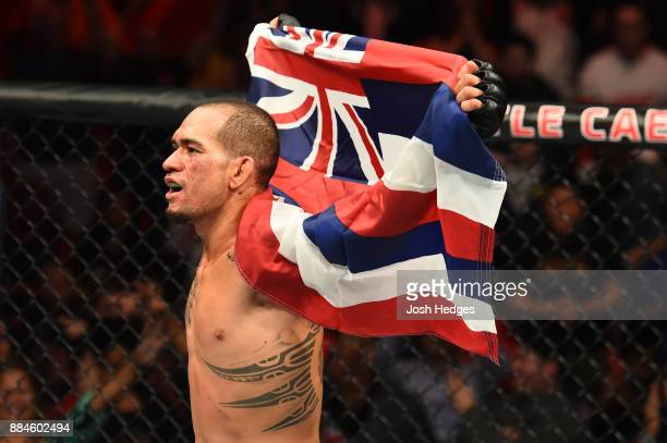 Yancy Medeiros reacts after defeating Alex Oliveira of Brazil in their welterweight bout during the UFC 218 event inside Little Caesars Arena on...