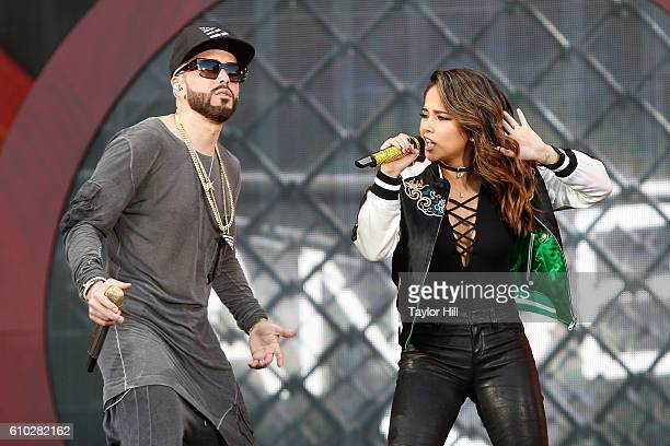 Yandel and Becky G perform during the 2016 Global Citizen Festival at Central Park on September 24, 2016 in New York City.