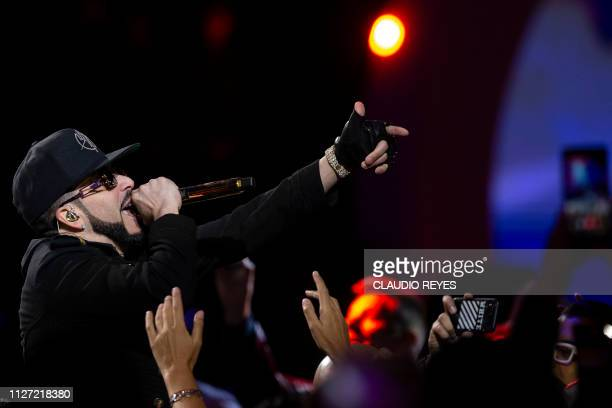 Yandel of Puerto Rican Wisin Yandel duo performs during the 60th Vina del Mar International Song Festival in Vina del Mar Chile on February 24 2019