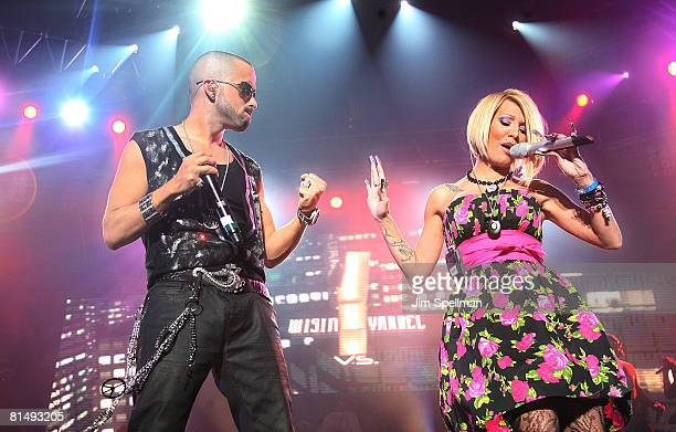 Yandel of Wisin y Yandel and Singer Ivy Queen perform during a pre-Puerto Rican Day Parade celebration concert on June 7, 2008 at Madison Square...