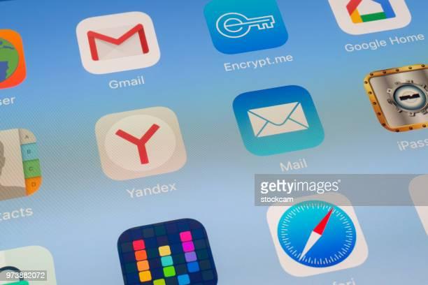 Yandex のと iPad 画面上のメール アプリ