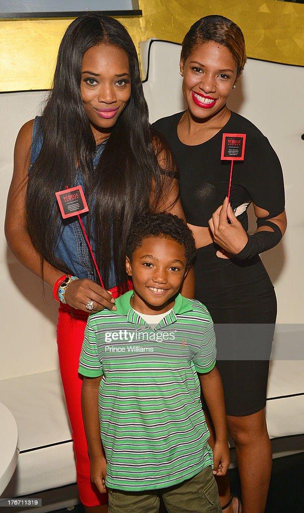 Yandi Smith, Mandeecees Harris Jr and Dariana Colon-Bibb attend the Host Rebelle Agency PR Launch party at La Mongerie on August 16, 2013 in Atlanta, Georgia.