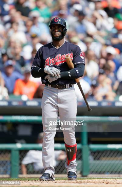 Yandy Diaz of the Cleveland Indians bats against the Detroit Tigers at Comerica Park on September 3 2017 in Detroit Michigan
