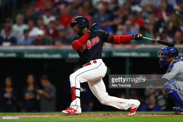 Yandy Diaz of the Cleveland Indians bats during the game against the Kansas City Royals at Progressive field on Thursday September 14 2017 in...
