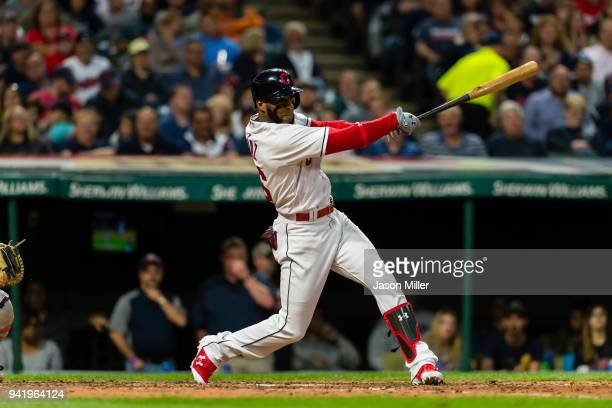 Yandy Diaz of the Cleveland Indians doubles during the third inning against the Boston Red Sox at Progressive Field on August 24 2017 in Cleveland...