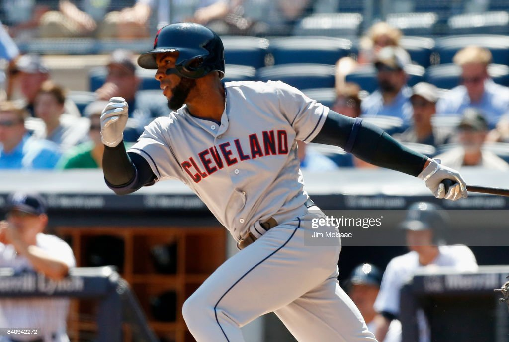 Yandy Diaz #36 of the Cleveland Indians follows through on a first inning RBI single against the New York Yankees in the first game of a doubleheader at Yankee Stadium on August 30, 2017 in the Bronx borough of New York City.
