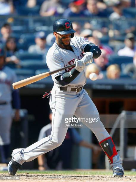 Yandy Diaz of the Cleveland Indians in action against the New York Yankees in the first game of a doubleheader at Yankee Stadium on August 30 2017 in...