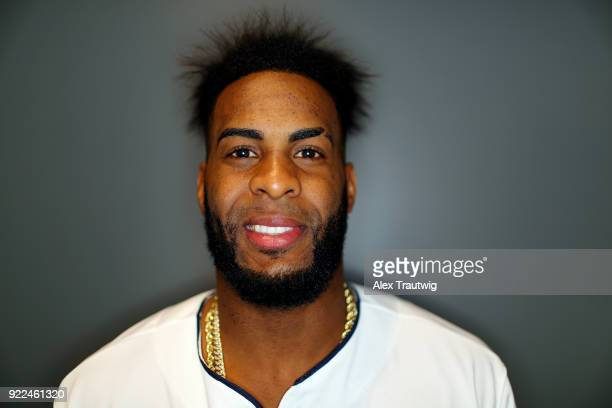 Yandy Diaz of the Cleveland Indians poses during Photo Day on Wednesday February 21 2018 at Goodyear Ballpark in Goodyear Arizona