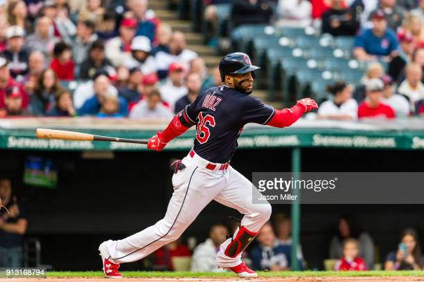 Yandy Diaz of the Cleveland Indians singles during the first inning against the Baltimore Orioles at Progressive Field on September 8 2017 in...