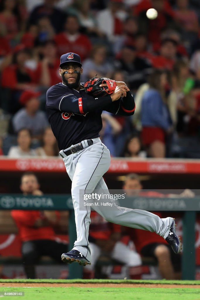Yandy Diaz #36 of the Cleveland Indians throws out Andrelton Simmons #2 of the Los Angeles Angels of Anaheim on a grounder during the second inning of a game at Angel Stadium of Anaheim on September 19, 2017 in Anaheim, California.