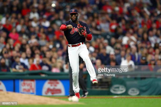 Yandy Diaz of the Cleveland Indians throws to first during the game against the Kansas City Royals at Progressive field on Thursday September 14 2017...