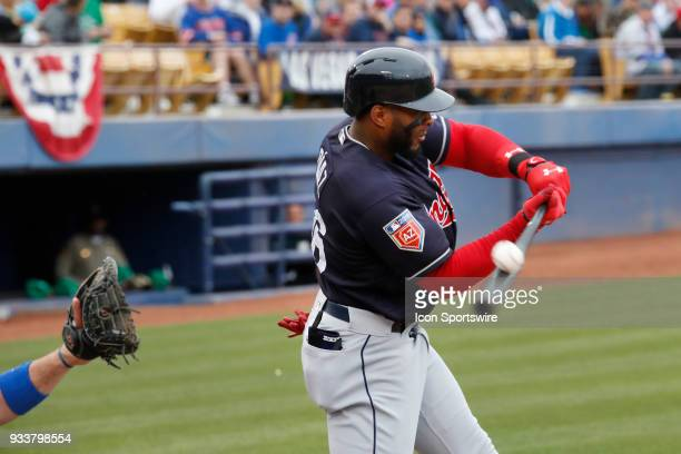 Yandy Diaz of the Indians fouls off a pitch during a game between the Chicago Cubs and Cleveland Indians as part of Big League Weekend on March 17...