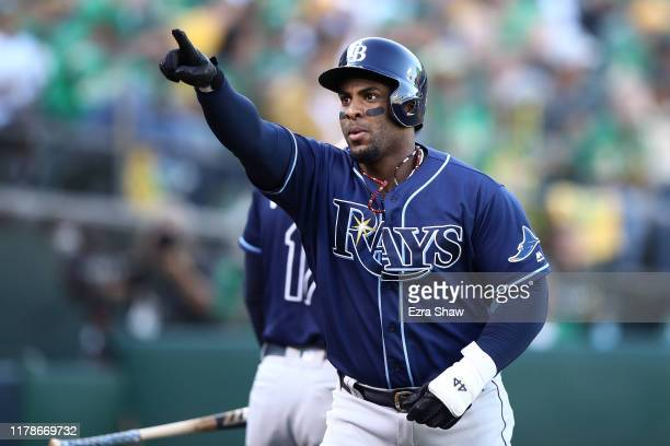 Yandy Diaz of the Tampa Bay Rays celebrates his solo home run off Sean Manaea of the Oakland Athletics in the first inning of the American League...